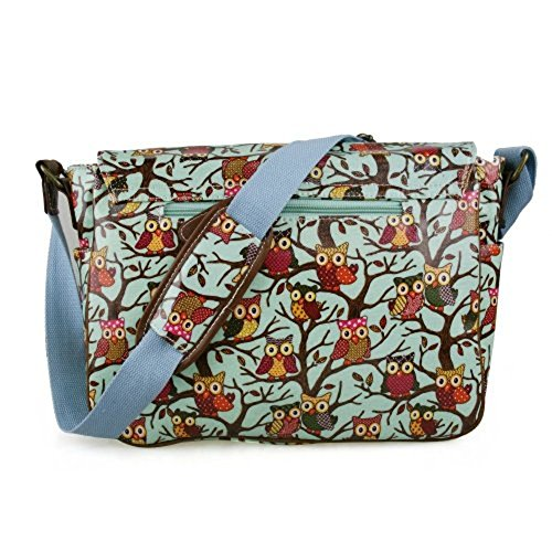 Bag Bag Satchel Oilcloth Designer Shoulder Fashion Print Messenger Blue D Owl Crossbody Light wv0aq