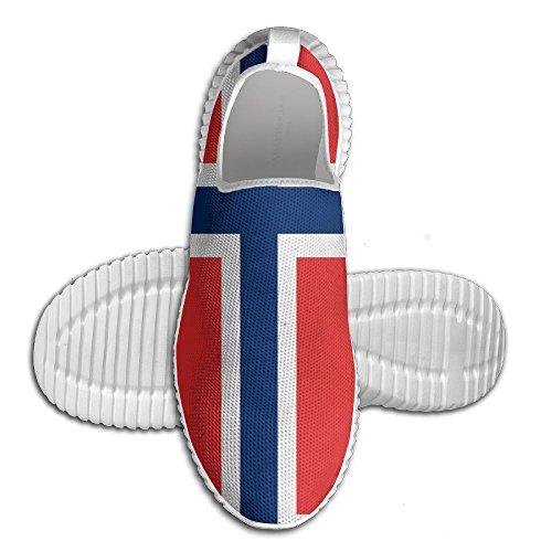 Ägg Ägg För Norsk Flagg Kvinna Man Loafers Löparskor Andas Mesh Utomhus Sport Promenadskor Vita