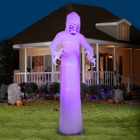 Gemmy Airblown Inflatable 12' X 4' Giant Black Light Short Circuit Ghost Halloween Decoration
