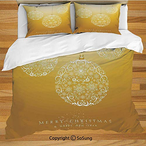 Christmas Queen Size Bedding Duvet Cover Set,Merry Xmas Round Baubles Hanging in The Air Advent Season Feelings Holy Day Print Decorative 3 Piece Bedding Set with 2 Pillow Shams,Mustard