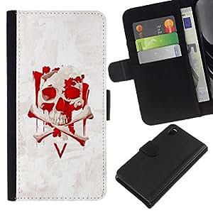 // PHONE CASE GIFT // Moda Estuche Funda de Cuero Billetera Tarjeta de crédito dinero bolsa Cubierta de proteccion Caso Sony Xperia Z3 D6603 / V Vendetta Skull /
