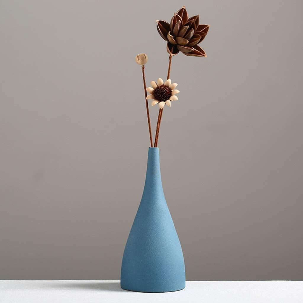 円柱装飾花瓶 HJCA高品質セラミック素材花瓶クリエイティブシンプルアートホームデコレーションヨーロッパスタイルのつや消しの小さな新鮮なリビングルームのテーブルデコレーションサイズ:高21.5CM *底面直径9.8CM *口径1.5CM(青) 写真円柱装飾花瓶ライフ花瓶フラワーショップブーケボックス B07S6GNCTG