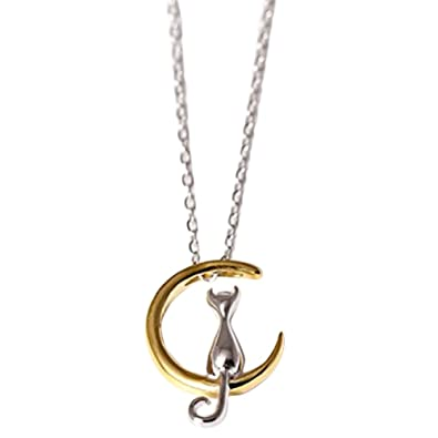 Demarkt Collar Colgante del gato de la luna de Joyería de Accesorios para Mujer(Oro