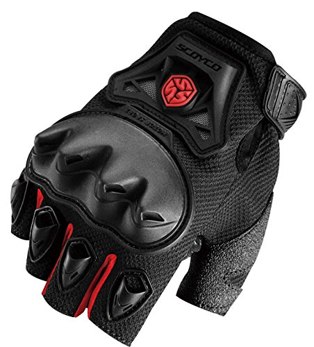 CRAZY AL'S SCOYCO MC29D Motorcycle Fingerless Gloves Sports Protective Gear Shock Resistant Padded Fingerless Safety Breathable Motorcycle Gloves (M, Red)