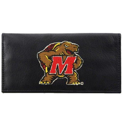 NCAA Maryland Terrapins Black Leather Embroidered Checkbook (Maryland Terrapins Leather)