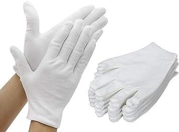 TooTaci 12 pares (24 guantes) guantes de algodón blanco, Guante grueso y reutilizable de trabajo suave 9.4 pulgadas para la inspección de plata de la joyería de la moneda - grande: Amazon.es: