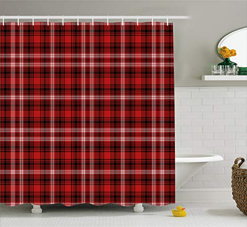 Abstract Quilt Fabric - Ambesonne Red Plaid Shower Curtain, Quilt Squares Rectangles Flannel Pattern Geometric Inspirations Abstract, Fabric Bathroom Decor Set with Hooks, 70 Inches, Scarlet Black