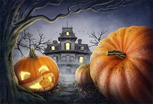 Laeacco Halloween Theme Backdrop 7x5ft Vinyl Photography Background Fairytale Haunted Castle Cute Pumpkin Lamp Decayed Tree Crow Scene Trick or Treat Party Greeting Card Kids Baby Shoot Childishness -