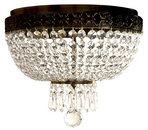 Royal Designs Clear K9 Quality Elegant Oil Rubbed Bronze Round Crystal Ceiling Flush Mount-2 Lights (FM-5001ORB)