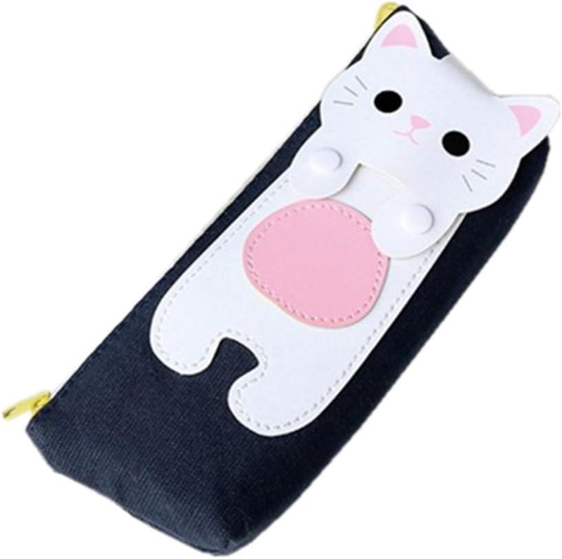 Astuccio Matite Grande Capacit/à Porta penne per bambini Portapenne Kawaii Scuola Astuccio Astuccio in tela di cartone animato gatto