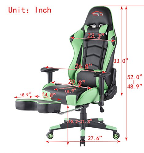 Superior [UPDATED]Top Gamer Ergonomic Gaming Chair Game Computer Chairs With  Footrest (Green/Black,02)
