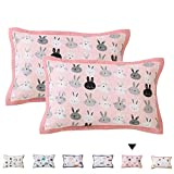 CoutureBridal Rabbit Toddler Pillowcase 13x18 2 Pack Girls Boys Kids Soft Breathable Pillow Cover Bedding-Double Layer Muslin