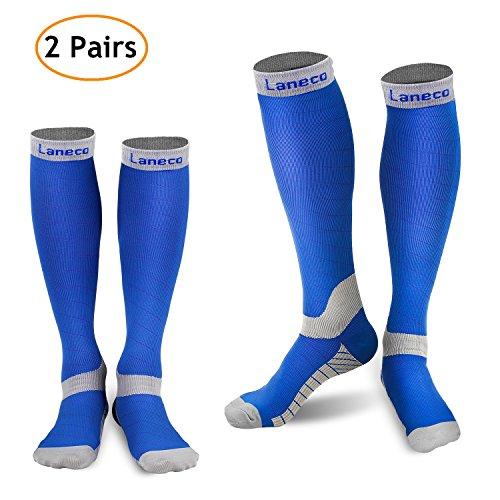 Laneco Compression Socks for Women & Men (2 Pairs), Graduated Compression Sock 20-30 mmHg for Nurses, Running, Maternity Pregnancy, Athletic Sports, Flight Travel, Shin Splints, Edema, Varicose Veins