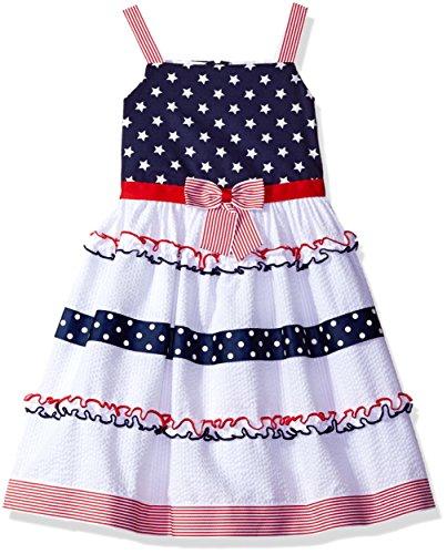Jean Bonnie Sundress - Bonnie Jean Toddler Girls' Sleeveless Seersucker Stars and Stripes Sundress, White, 2T