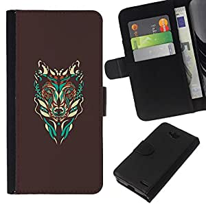All Phone Most Case / Oferta Especial Cáscara Funda de cuero Monedero Cubierta de proteccion Caso / Wallet Case for LG OPTIMUS L90 // Brown Wolf Abstract Art Teal Native