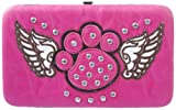 Pink Studded Rhinestone Winged Paw Print Cross Flat Wallet