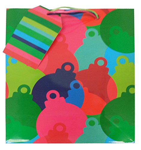 The Gift Wrap Company 6 Count Gift Bags, Medium, Bobbin' Baubles (Reusable Bobbin)