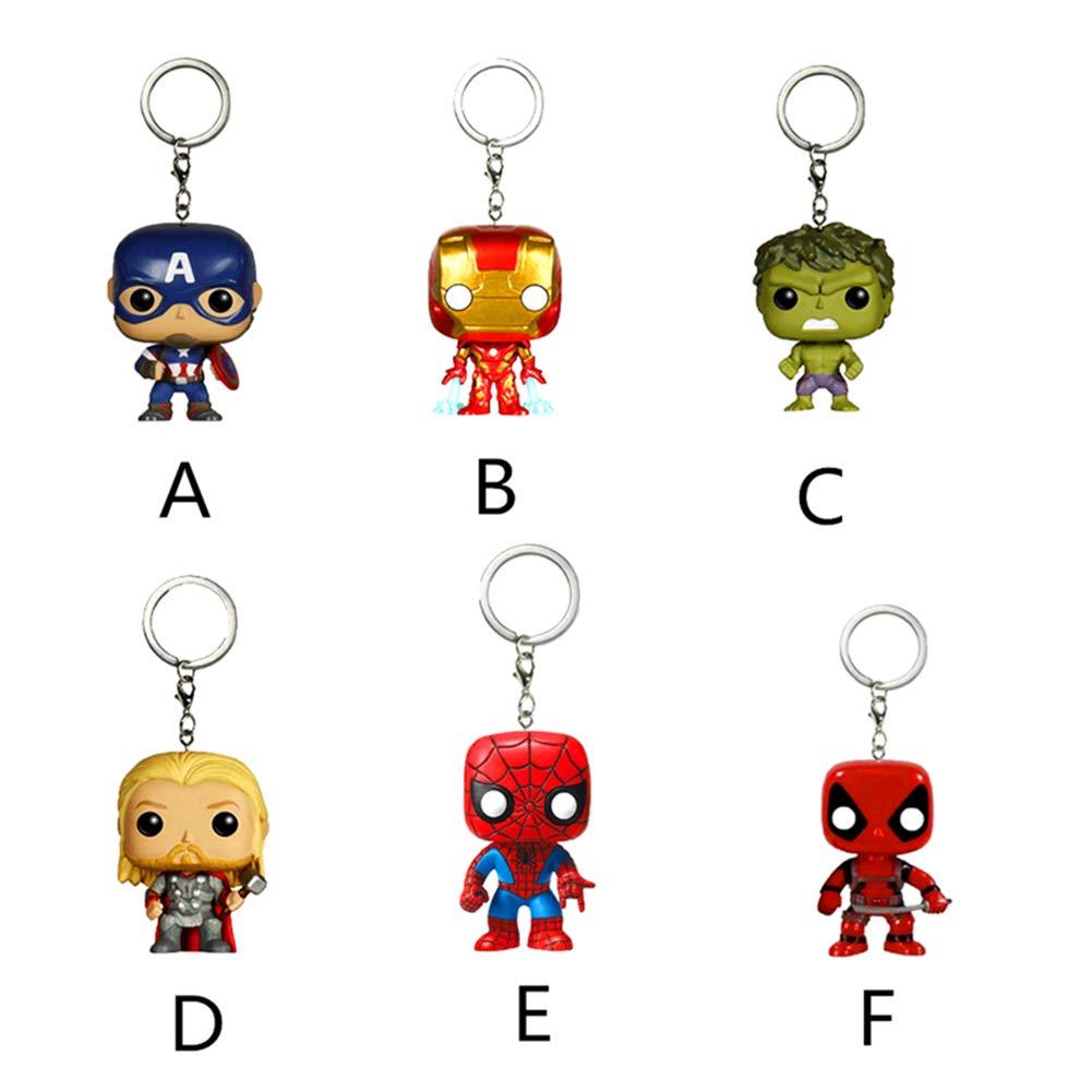 Lincong Llaveros Marvel Bolsa Accesorios Joyas Capit/án Am/érica Hulk Spiderman Hand