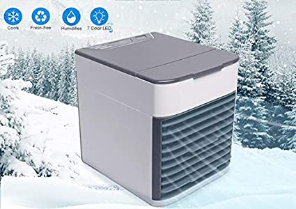 7 Colors LED Personal Air Cooler Desktop Table Cooling Fan for Home Bedroom Office Portable Mini USB Fan Evaporative Humidifier/&Purifier with Aromatherapy 3 Speeds Air Personal Space Conditioner