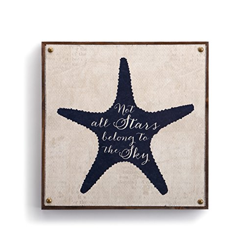 DEMDACO Starfish Rustic White 10 x 10 Wood Composite Canvas Wall Art Plaque Sign]()