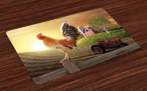Lunarable Country Place Mats Set of 4, Farm Barn Yard Image with Rooster Animal Early Bird Nature and Rising Sun Print, Washable Fabric Placemats for Dining Table, Standard Size, Brown Red (Rooster Table Mats)