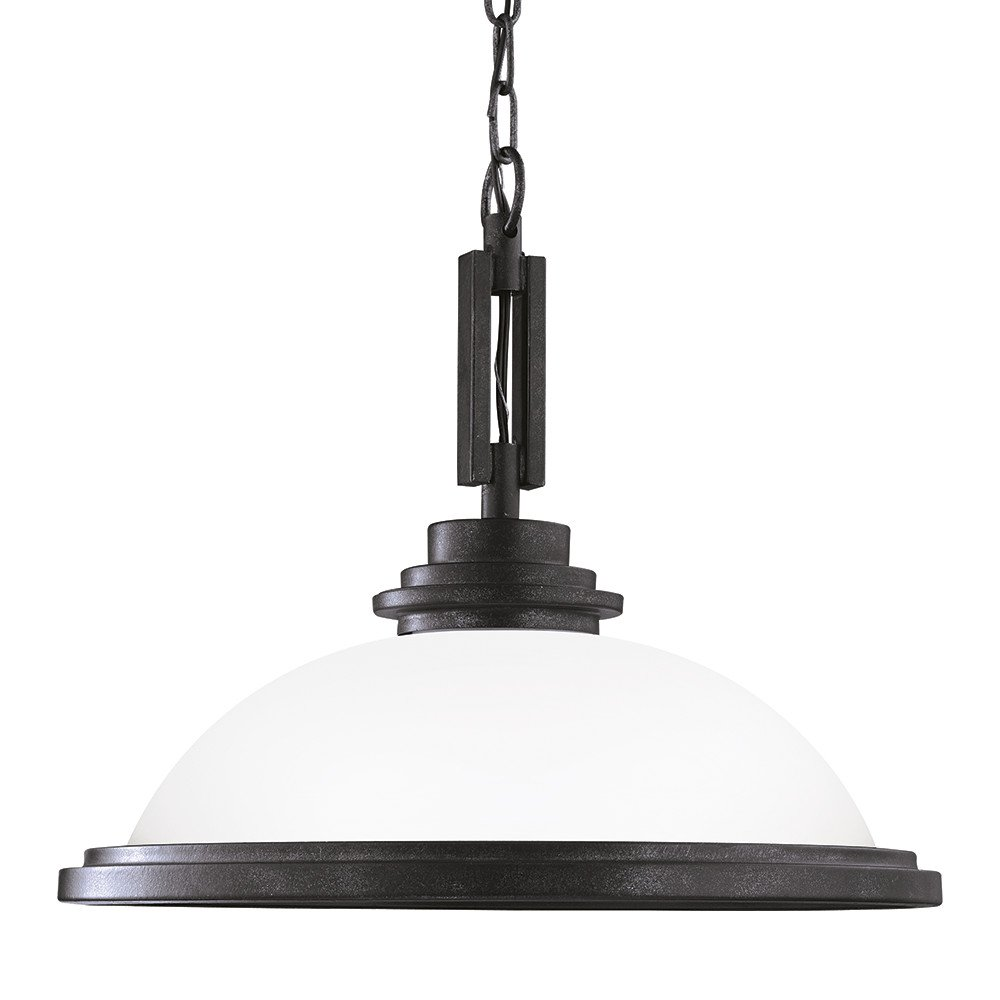 Sea Gull Lighting 65660-839 Winnetka One-Light Pendant with Satin Etched Glass Shade Blacksmith Finish
