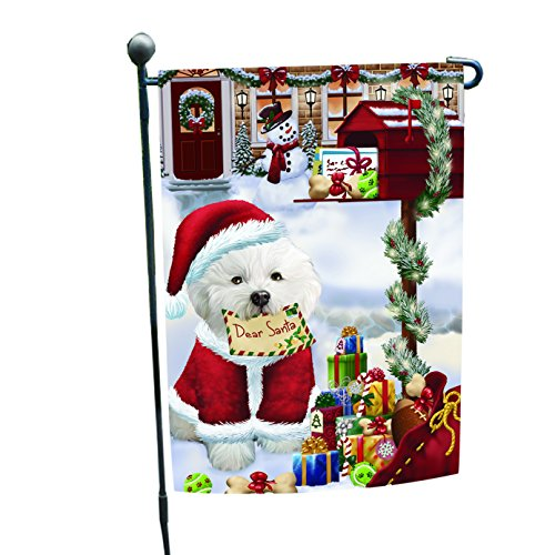 Bichon Dear Santa Letter Christmas Holiday Mailbox Dog Garden Flag