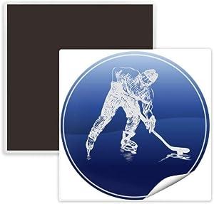 Winter Sport Skating and Ice Hockey Watercolor Square Ceramics Fridge Magnet Keepsake Memento