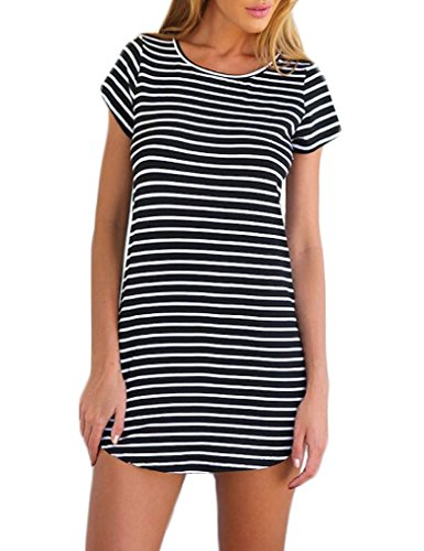 OURS Women Casual Crew Neck Short Sleeve Striped Loose Dress (M, Black)