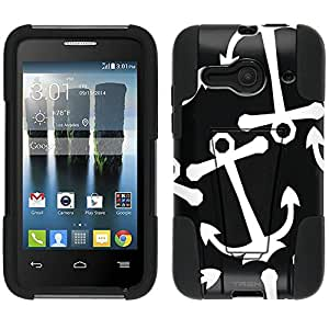 Alcatel One Touch Evolve 2 Hybrid Case Anchors White on Black 2 Piece Style Silicone Case Cover with Stand for Alcatel One Touch Evolve 2