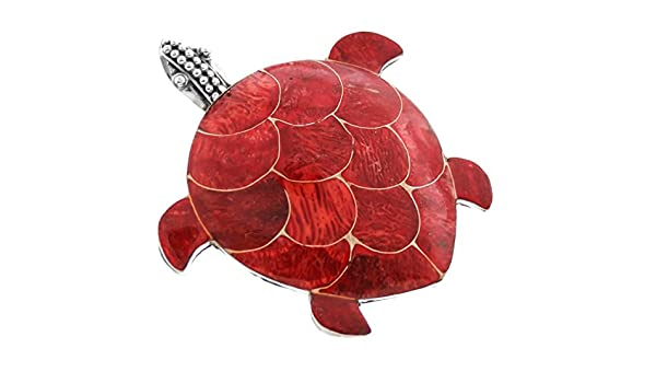 1 7//8 Shell Turtle Red Coral 925 Sterling Silver Pendant