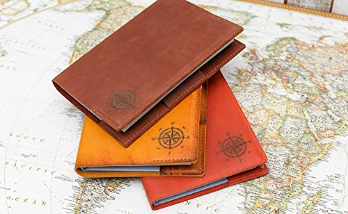 Mymap Travel Book Journal with Genuine Leather Cover, Sketchbook Notebook for Travelers with Scratch Off World map for Traveler Birthday Idea(Chocolate) ()