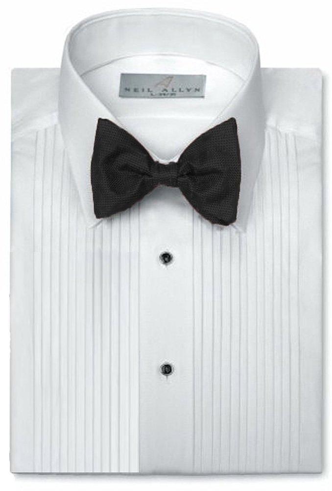 Neil Allyn Mens Tuxedo Shirt Poly/Cotton Laydown Collar 1/4 Inch Pleat (19 X 34-35)White by Neil Allyn