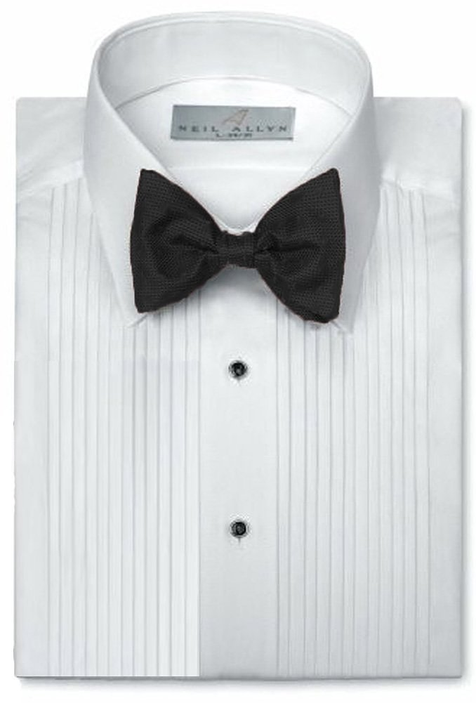 Neil Allyn 1/4'' Pintuck (Pleat) Laydown Collar Convertible Front and Cuff Shirt,White,X-Large(17.5 X 34-35)White