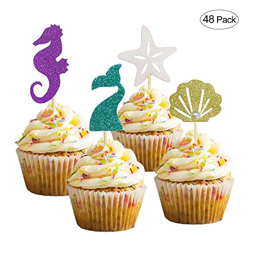 Joyclub Mermaid Themed Cake Decoration Glitter Sea Horse/Starfish/Mermaid Tail/Seashell Cake Toppers for Baby Shower,Wedding, Birthday Party Supplies (48 Pack)