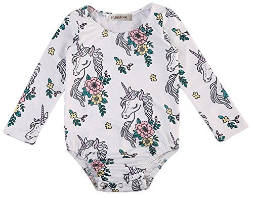 stylesilove Baby Girl Unicorn Printed Long Sleeve Romper Playsuit Outfit (70/3-6 Months, White)