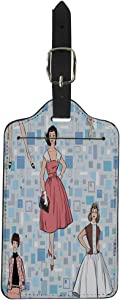 Pinbeam Luggage Tag Dressed Girls 1950 1960 Retro Party Vintage Silhouettes Suitcase Baggage Label