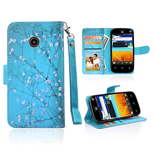 for ZTE N818S Case Wallet Phone Case Grip Textured Kickstand Hybrid Pouch Pocket Purse Screen Flip Cover (Blooming Teal)