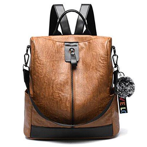 Hgdr cuir sac à dos femmes Casual sac à bandoulière école de voyage quotidien, noir-31 * 14 * 32cm brun