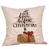 Christmas Tree Pgojuni Throw Pillow Cases Cushion Cover Home Decor Flax Pillow Cover for Sofa/Couch 1pc 45cmx45cm (D)