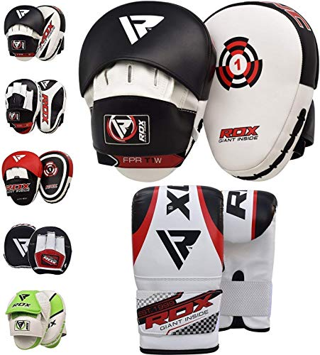 RDX Boxing Focus Punch Mitts MMA Training Punching Hook & Jab Strike Pads Target with Bag Gloves ()