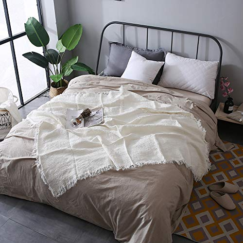 French linen flax blanket with self-tattered edges,made from thick double woven linen soft fabrics,used as coverlet blanket throw,Size 59