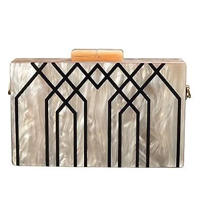 GGBAZZARA Women's Evening Handbag box clutch Acrylic Stripes Shoulder Bag for Party Champagne Evening Bag (Champagne)