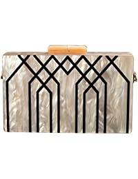 Evening Handbag Box Acrylic Clutch Stripes Shoulder Bag for Party Champagne Evening Bag