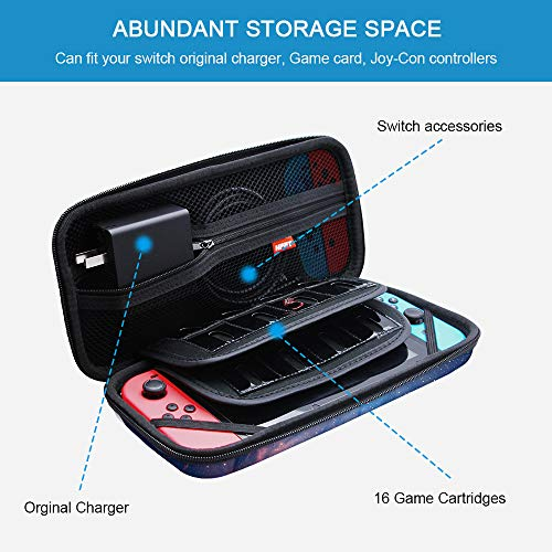 NPET SC10 Carry Case for Nintendo Switch, Protective Deluxe Travel Case, 16 Game Cartridge Card Slots Pouch Bag, Cover Hard Shell Storage for Nintendo Switch Console & Accessories (Space)