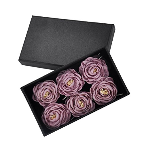 YSUCAU Handcrafted Lapel Pins Flower, Boutonniere Set For Suits Wedding Party, Gift Box Of 12 (Taro Milk)