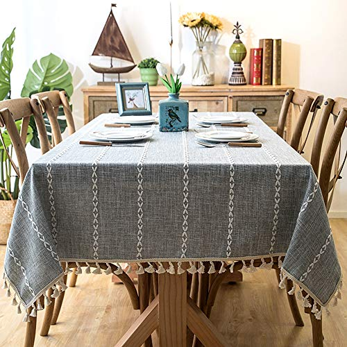 Lahome Embroidery Stripe Tassel Tablecloth -Heavy Weight Cotton Linen Washable Table Cover for Kitchen Dining Room Restaurant Party Decoration (Gray, Rectangle - 55