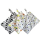 3 Pcs Cloth Diaper Wet Dry Diaper Bag organizing Pouches Bags Waterproof Reusable with Zippered P...
