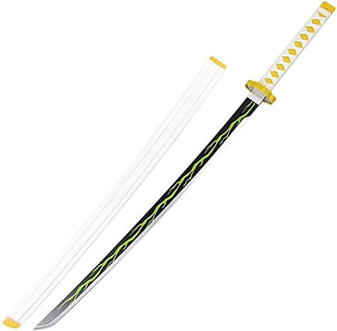 "41/"" Fantasy Foam Samurai Katana Sword Demon Zenitsu Agatsuma Slayer Cosplay New"