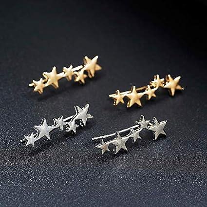 Moon Star Ear Climber Tiny Star Moon Stud Earrings for Women Everyday Teen Mothersday Celestial Birthday Gift Jewelry Earrring Krassu